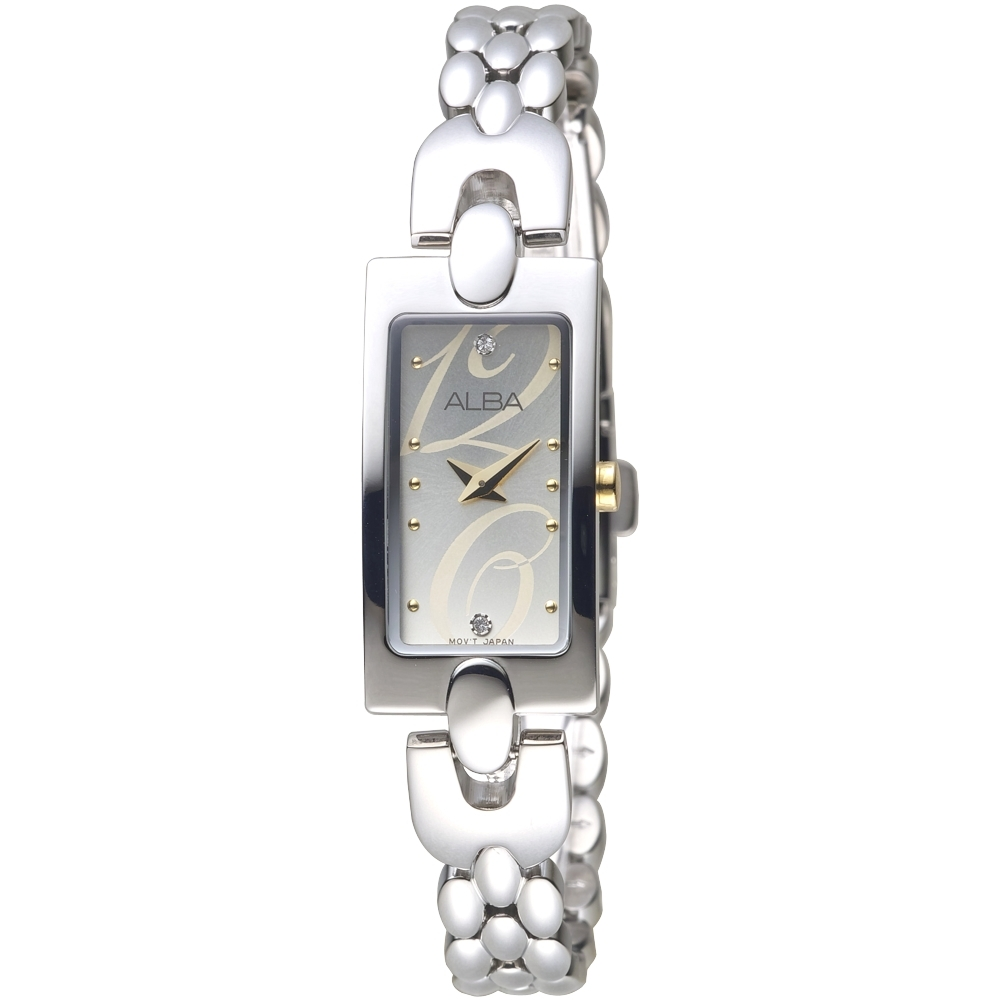 ALBA雅柏手錶 時尚風SWAROVSKI晶鑽銀色鍊帶女錶(AEGD43X1)/16*32mm 保固二年