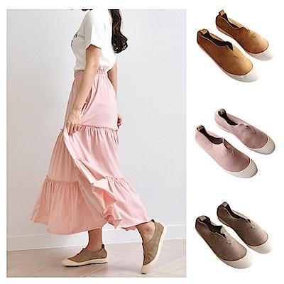 【AIRKOREA韓國空運】柔軟麂皮貝殼風格休閒鞋-五色