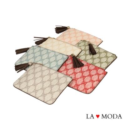 La Moda 人氣熱銷logo壓紋高質感拉鍊流蘇綴飾零錢包(六色)