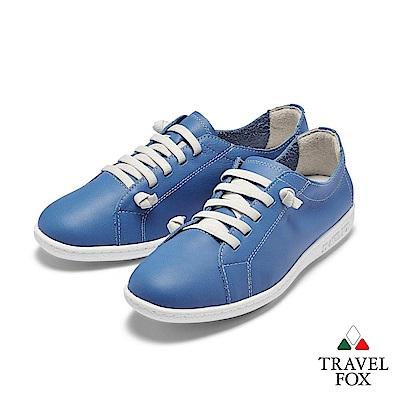 TRAVEL FOX(女) 踏實玩家 超軟牛皮極舒適免綁帶休閒鞋 - 中藍