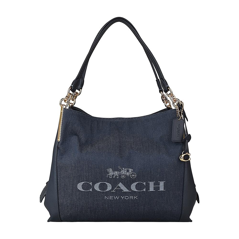 COACH專櫃款藍字LOGO緹花帆布拼接小牛皮扣式肩背包(丹寧藍)