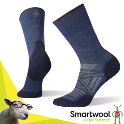 SmartWool 美國製造 美麗諾羊毛PhD 戶外輕量減震中長襪(2入)_靛藍色