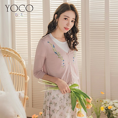 東京著衣-YOCO 氣質透膚刺繡小外套-S.M.L-(共二色)