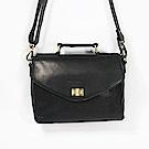 CALTAN-斜背包 手提包 兩用包 復古旋轉釦 女包 包包 旅行-5221ht-bk