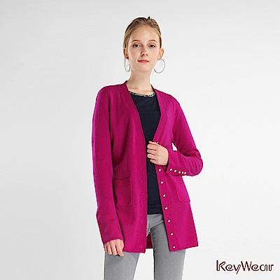KeyWear奇威名品    高級舒適羊絨開襟毛衣外套-桃紅色
