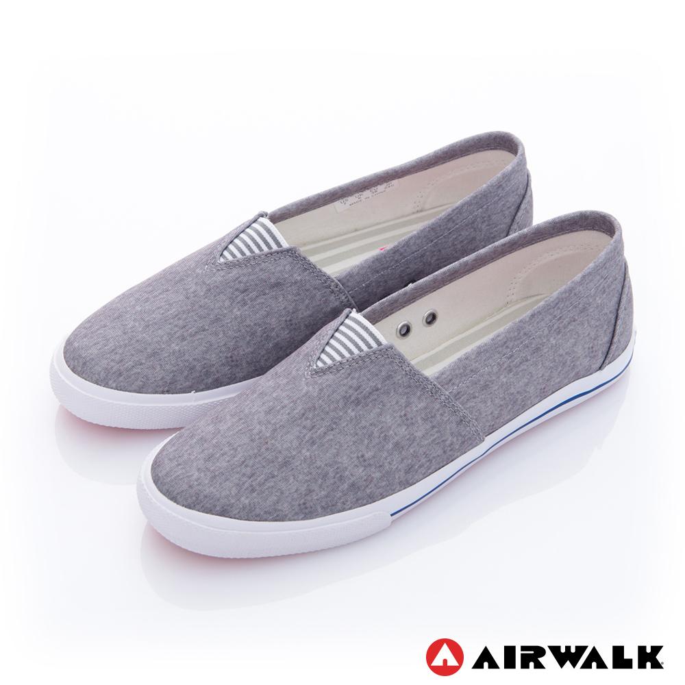【AIRWALK】三角鬆緊 百搭舒適懶人帆布鞋 -灰