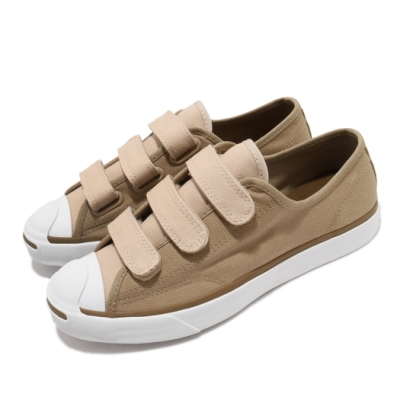 Converse 休閒鞋 Jack Purcell 穿搭 男女鞋 基本款 開口笑 魔鬼氈 帆布 情侶鞋 卡其 白 168978C