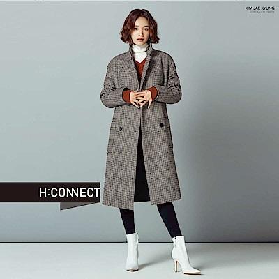 H:CONNECT 韓國品牌 女裝-側開岔V領針織上衣-棕