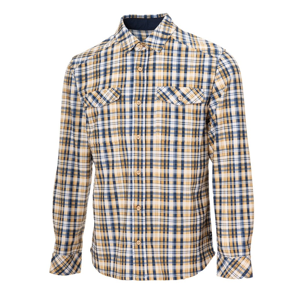 【WILDLAND荒野】男彈性格紋內刷毛保暖襯衫黃藍格