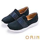 ORIN 時尚渡假風 閃耀燙鑽平底休閒鞋-藍色