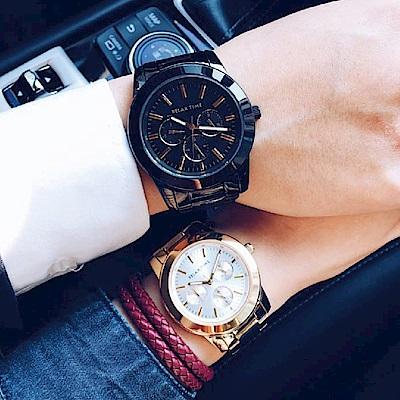 Relax Time 時尚達人日曆顯示情侶對錶-42+38mm