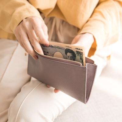 CHENSON真皮 讓錢住飯店 超薄牛皮長夾 豆沙紫(W00018-U)