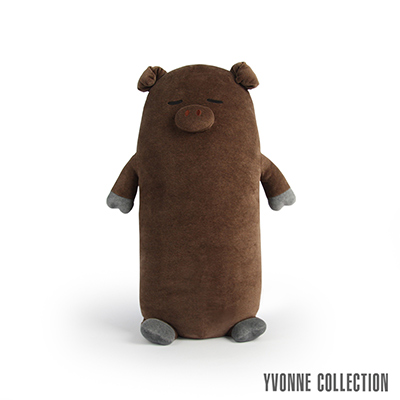 YVONNE COLLECTION 豬豬長型抱枕-咖啡