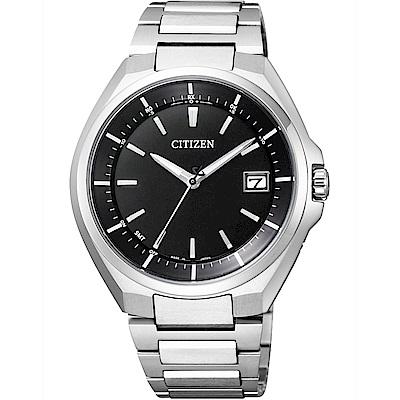 CITIZEN 星辰 鈦金屬光動能電波錶(CB3010-57E)-黑x銀/40mm