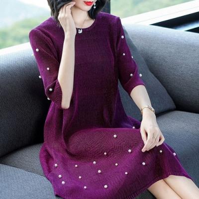 【韓國K.W.】珍珠奢華三宅壓摺洋裝