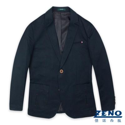 ZENO 精簡合身休閒西裝外套‧黑藍