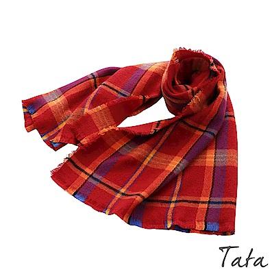 流蘇紅格紋圍巾 TATA