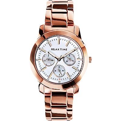 Relax Time 時尚達人日曆顯示手錶-銀x玫塊金/38mm