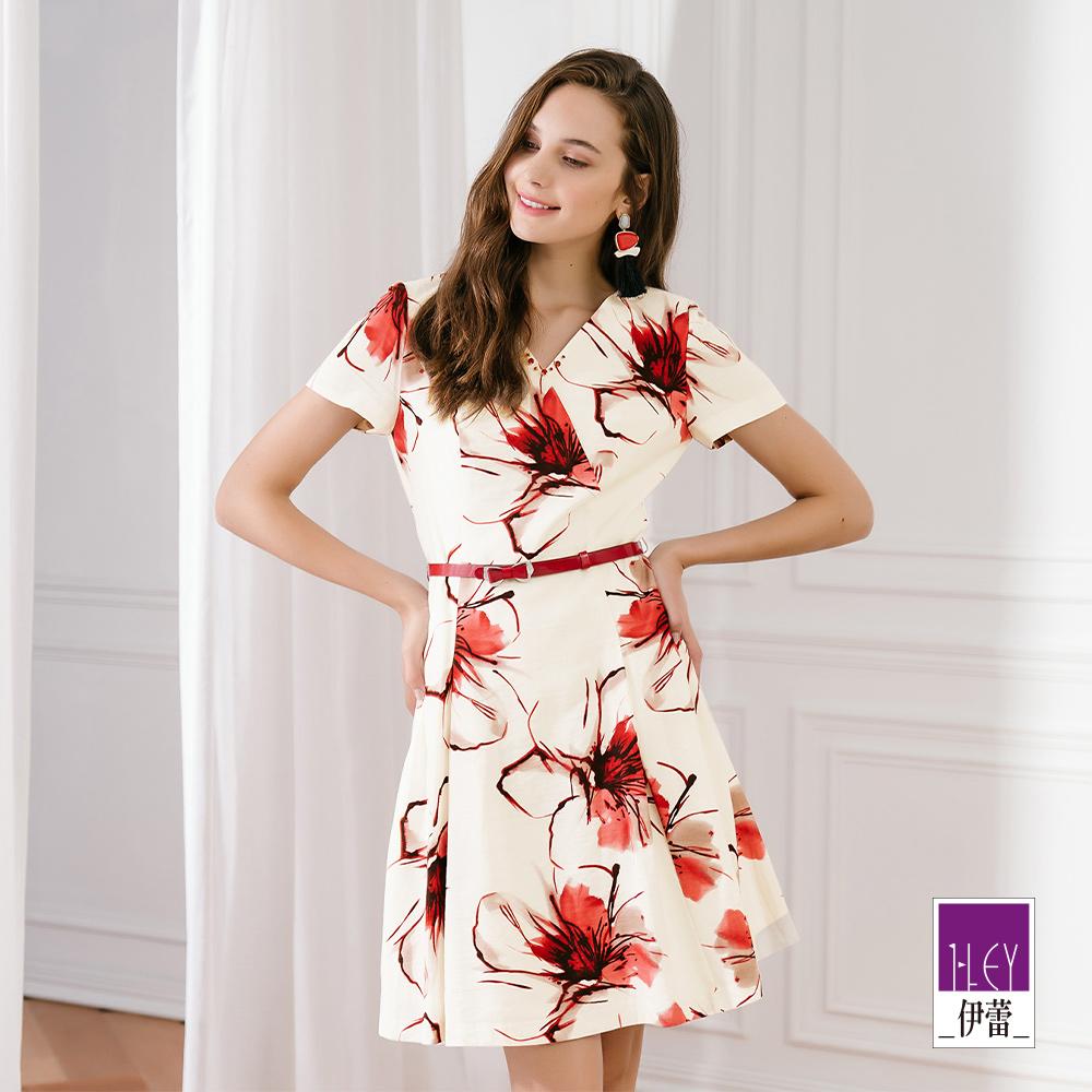 ILEY伊蕾 亞麻V領印花洋裝(白)