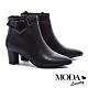短靴 MODA Luxury 典雅都市扭結裝飾牛皮尖頭粗跟短靴-黑 product thumbnail 1