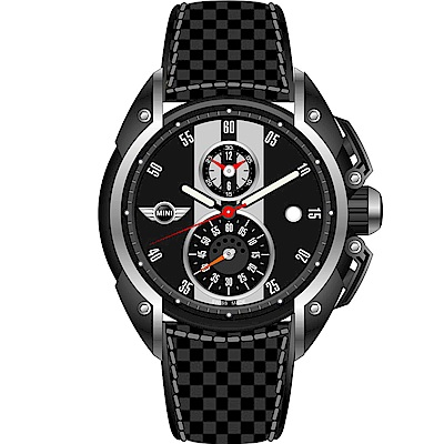 MINI Swiss Watches跑旅時尚計時腕錶(MINI-12)-黑/45mm