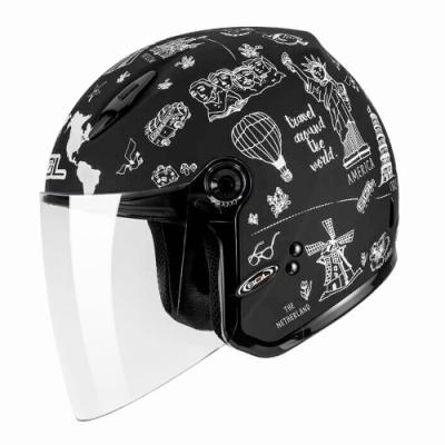 SOL 27Y環遊世界3/4開放式安全帽(黑白)(女)