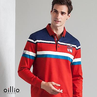 歐洲貴族 oillio 長袖POLO 三色拼色 撞色條紋 紅色
