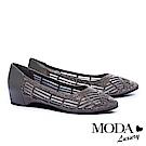 低跟鞋 MODA Luxury 異材質拼接透膚水鑽點綴內增高低跟鞋-灰