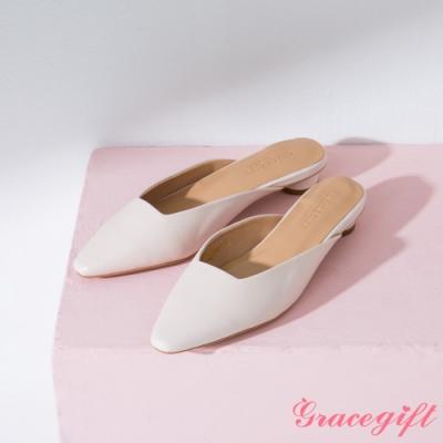 Grace gift-素面方口圓跟穆勒鞋 米白