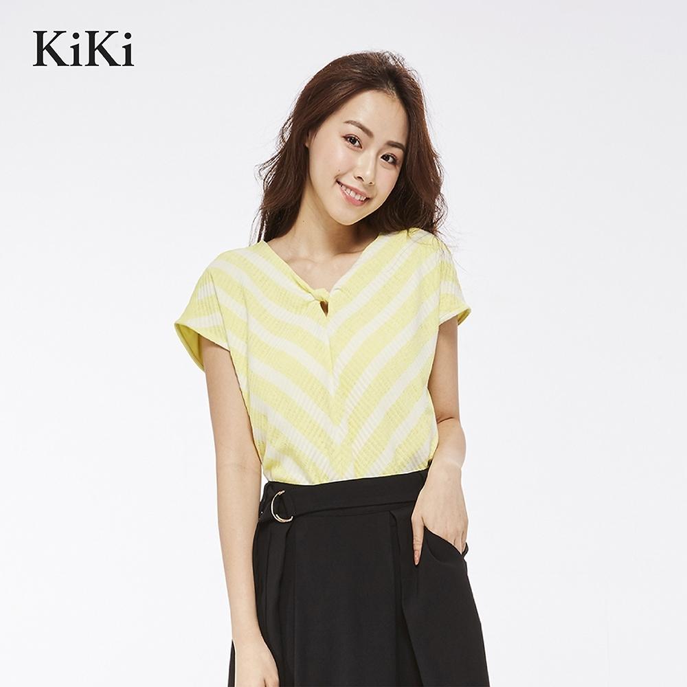 【KiKi】都會風條紋拼接-針織衫(三色)