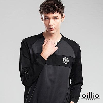 歐洲貴族 oillio 長袖T恤 圓標電腦刺繡 下襬縮口設計 黑色