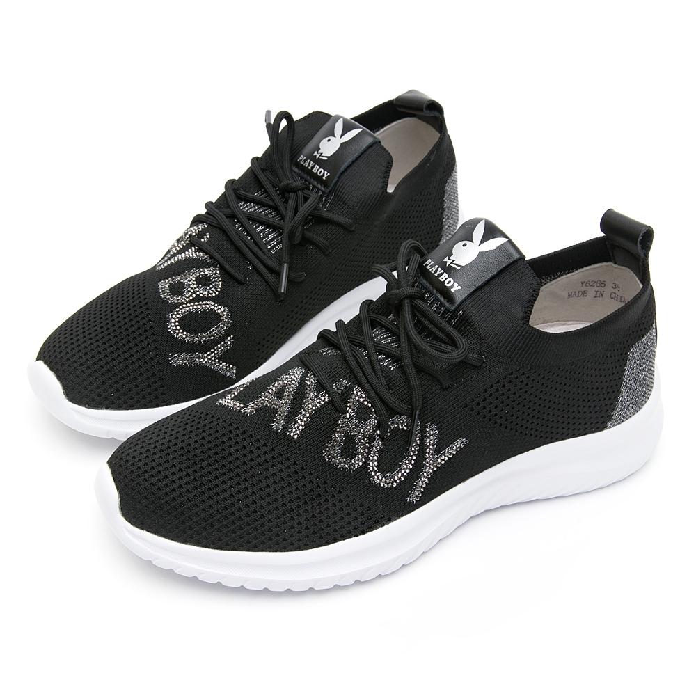 PLAYBOY閃鑽LOGO襪套式休閒鞋-黑-Y6285CC