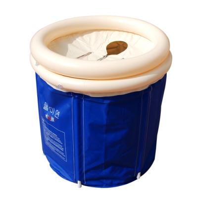 行動折疊充氣泡澡浴桶(附充氣墊)/成人桑拿 蒸氣排汗 加厚摺疊浴缸 洗澡盆