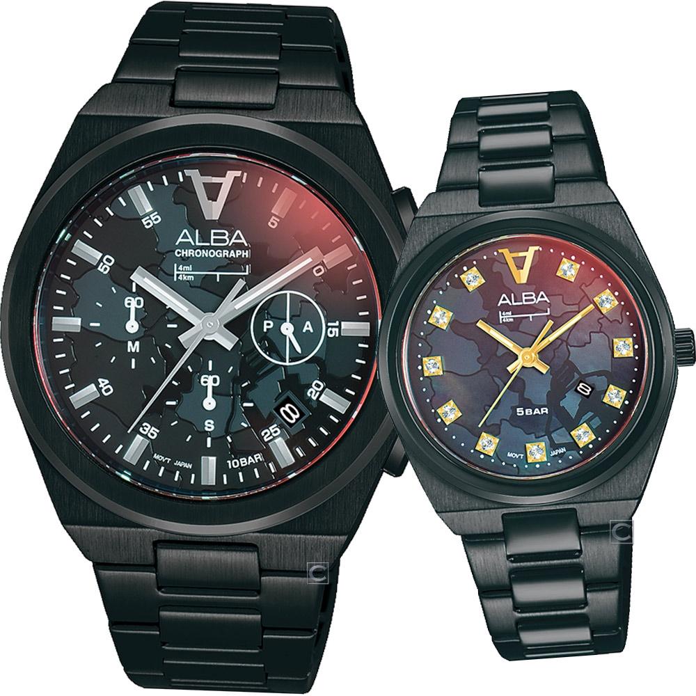 ALBA 雅柏 東京愛戀時刻時尚對錶-VD53-X380SD+VJ22-X348SD