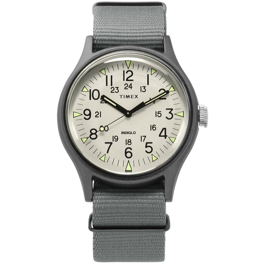 TIMEX 天美時 INDIGLO專利冷光照明 24小時顯示帆布手錶-米白x灰/40mm