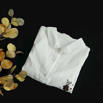 娃娃領刺繡白襯衫寬鬆棉柔上衣/設計所在Y4966