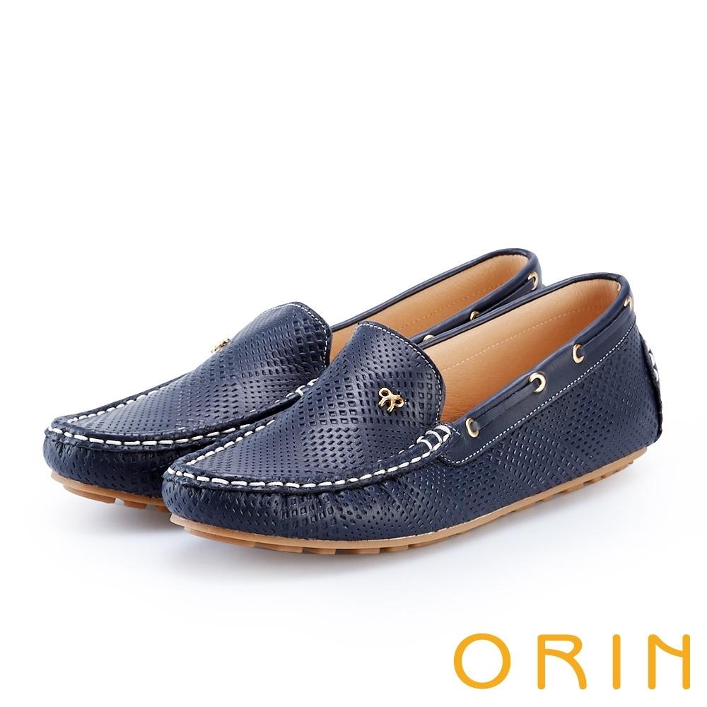 ORIN 牛皮凹洞手縫帆船鞋 藍色