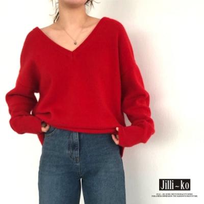 JILLI-KO 經典外搭短版大V領針織上衣- 紅色