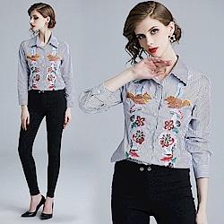 可愛刺繡圖文條紋排釦襯衫S-XL-M2M
