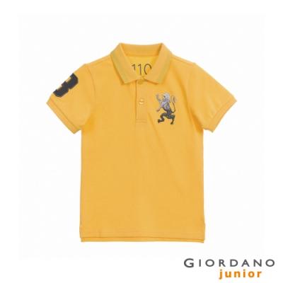 GIORDANO   童裝勝利獅王漸層刺繡彈力萊卡POLO衫 - 86 水仙花黃