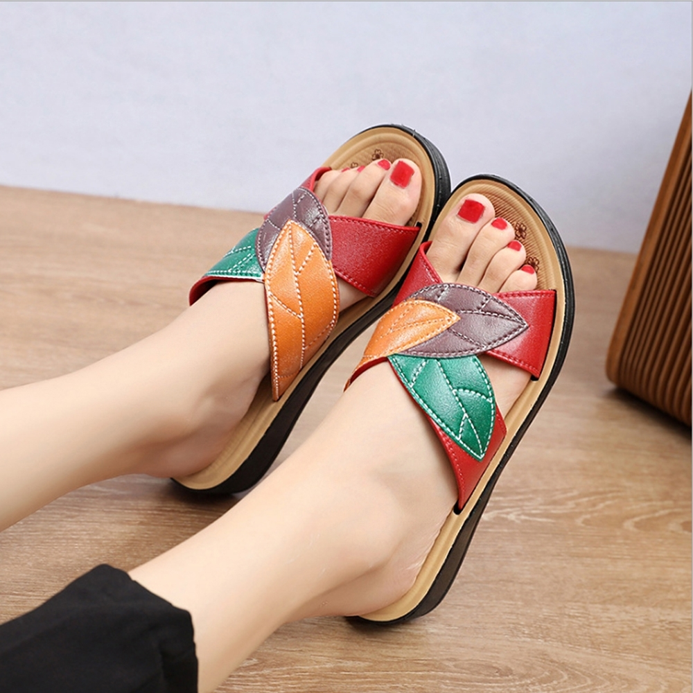 LN  現+預 韓版撞色軟底涼拖鞋(涼拖鞋/休閒鞋) (紅色)