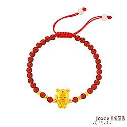 J code真愛密碼 小萌佛-三太子黃金/紅瑪瑙手鍊-立體硬金款
