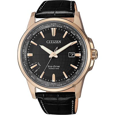 CITIZEN 星辰 限量光動能萬年曆手錶-玫瑰金框x黑/41mm
