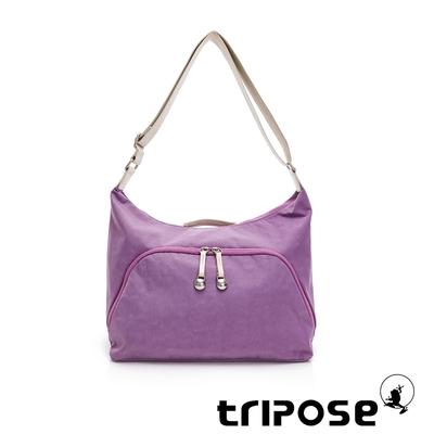 tripose MEMENTO微皺尼龍牛角斜背包-大-夢幻紫