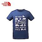 The North Face北面男款藍色圓領印花短袖T恤