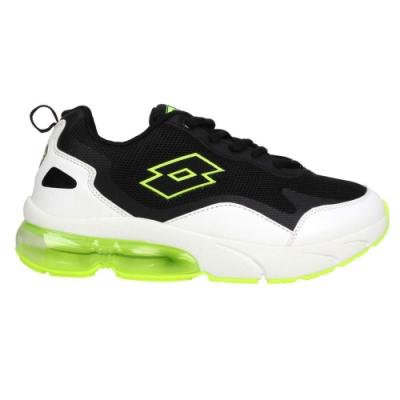 LOTTO 男女大童氣墊慢跑鞋-童鞋 避震 運動 LT0AKR2205 白黑螢光綠