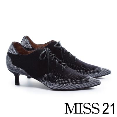 高跟鞋 MISS 21 獨特圖騰異材質拼接綁帶高跟鞋-黑