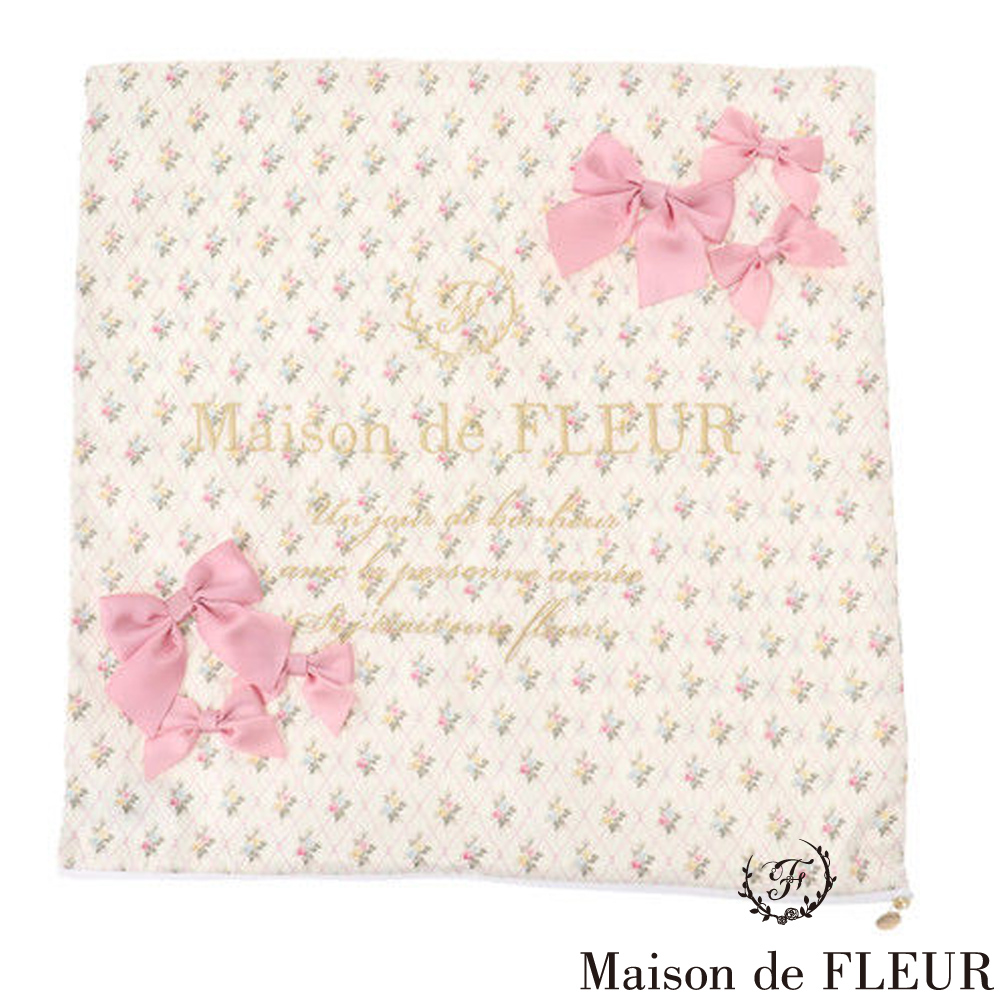 Maison de FLEUR 甜美花卉刺繡LOGO枕頭套