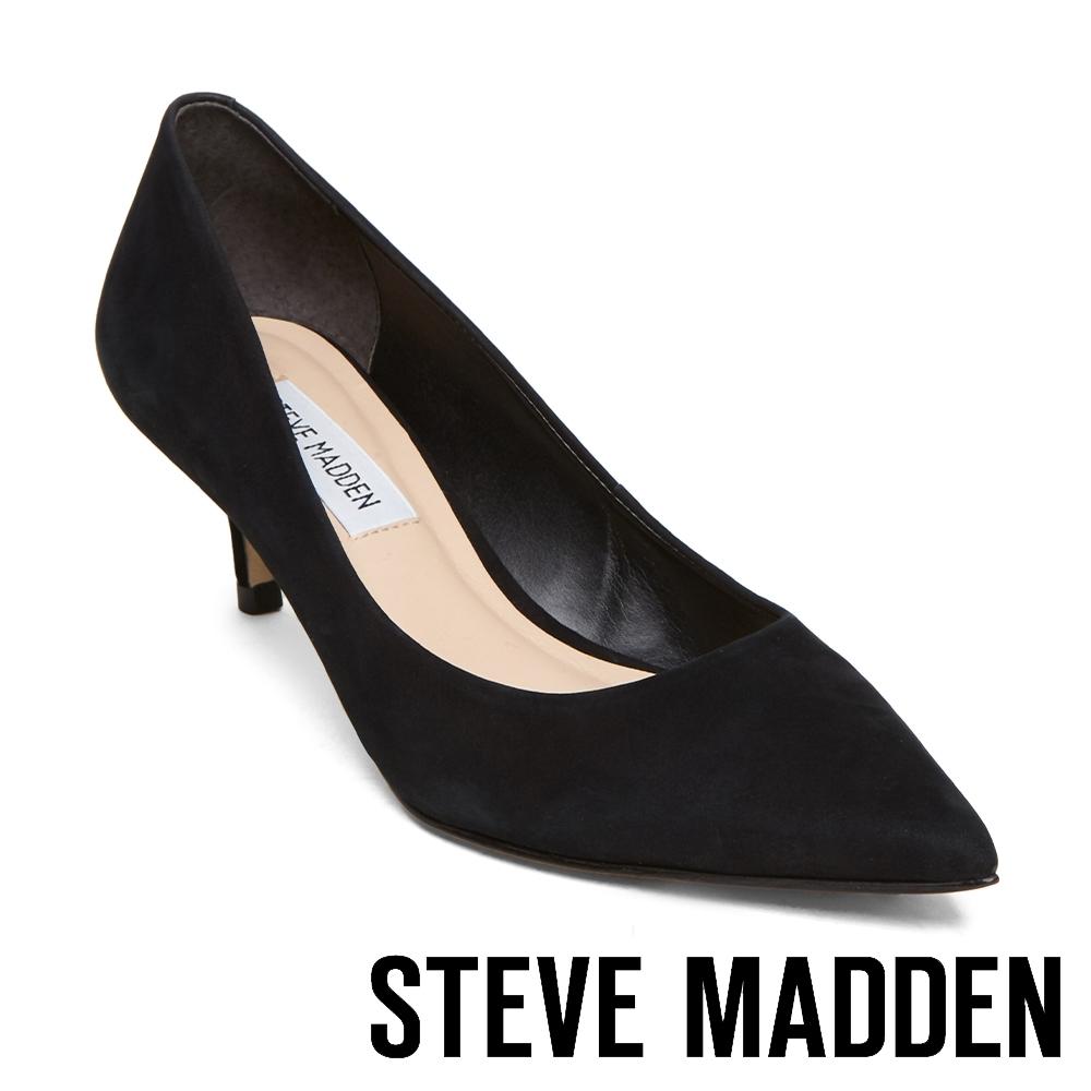 STEVE MADDEN-SABRINAH 素面尖頭中跟鞋-絨黑色