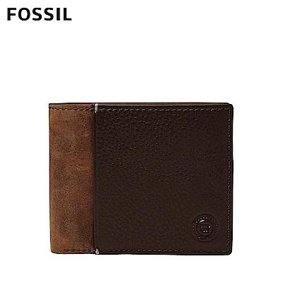 FOSSIL 母親節優惠 WARD RFID含零錢匣干邑色調雙色男夾 ML4118222